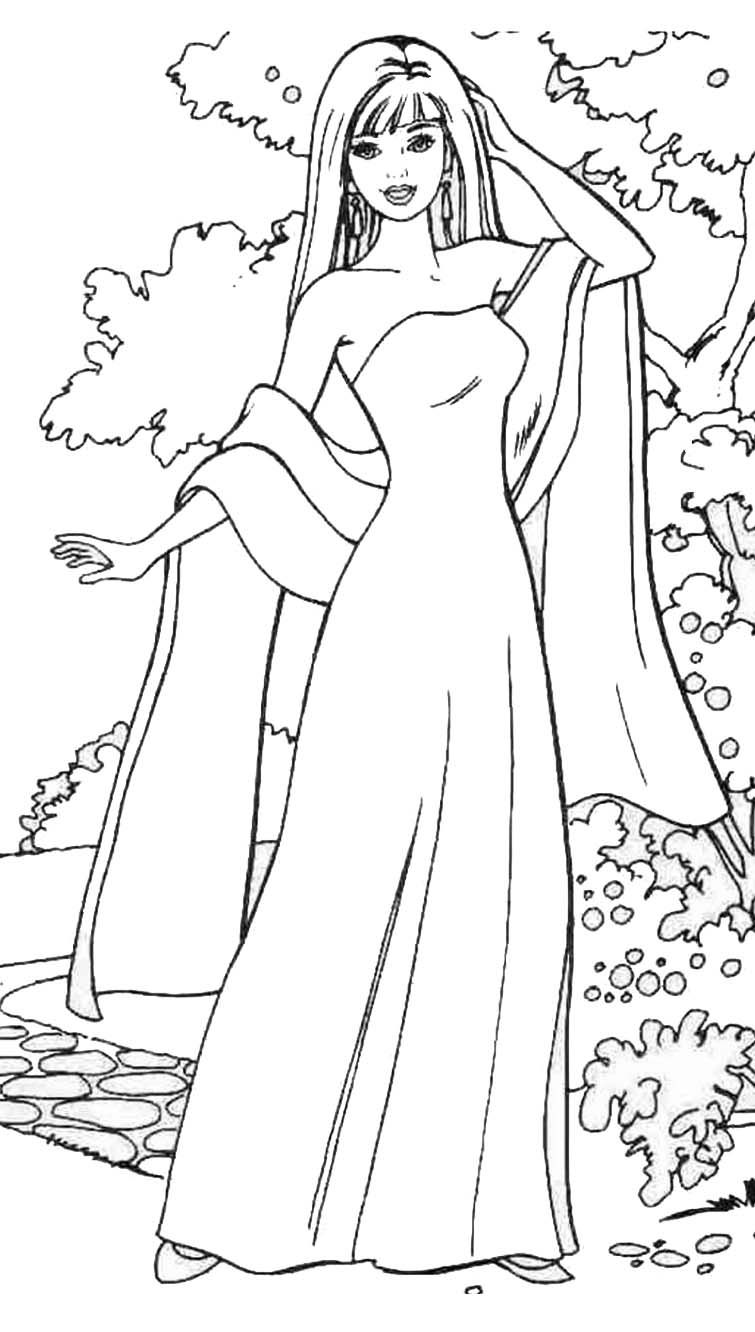 BARBIE COLORING PAGES TWO MORE PICTURES OF