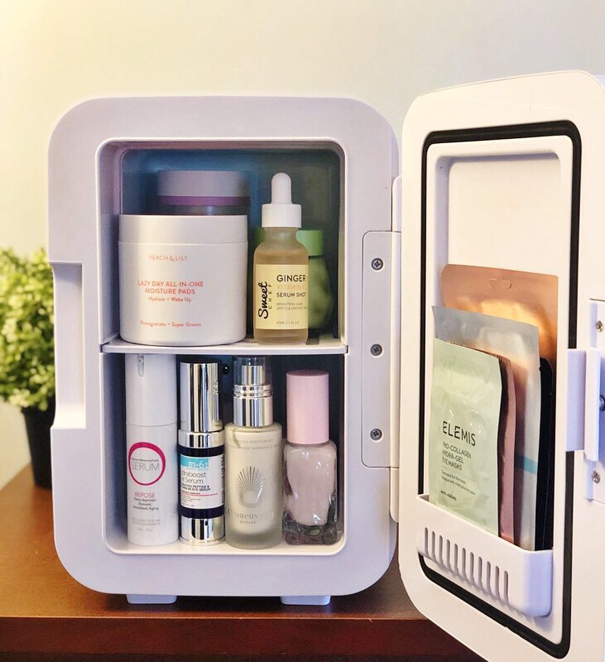Cooluli mini skincare fridge featured on allure magazine