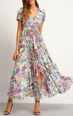 53167487681a2 Multicolor Print Button Split Front Flare Maxi Dress | Fashionista ...