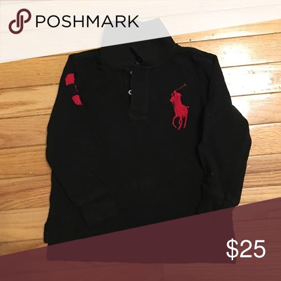 Boys Ralph Lauren Polo Size 3t Black Long Sleeve Collared Polo Ralph Lauren Logo Embedded To Front Of Polo Ralph Lauren Ralph Lauren Logo Clothes Design
