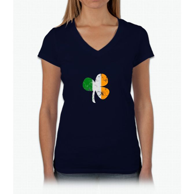 Vintage Irish Flag Clover St Patricks Day Womens V-Neck T-Shirt