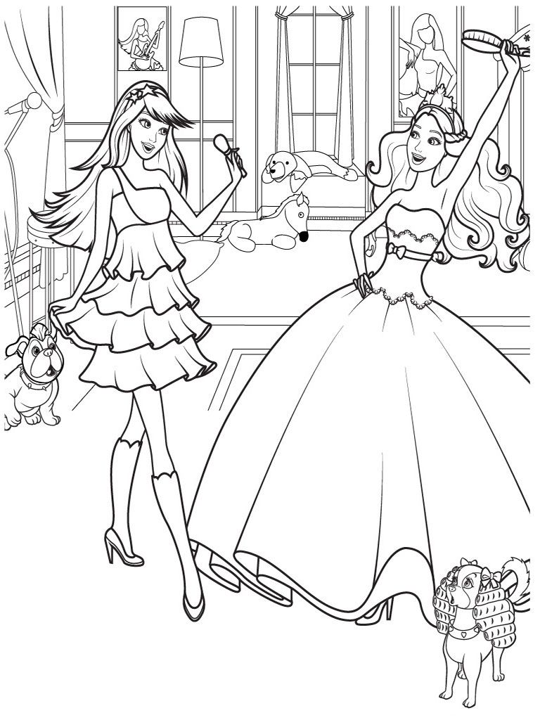 Free printable coloring pages barbie princess - Barbie And 12 Dancing Princesses Printable Kids Coloring Pages