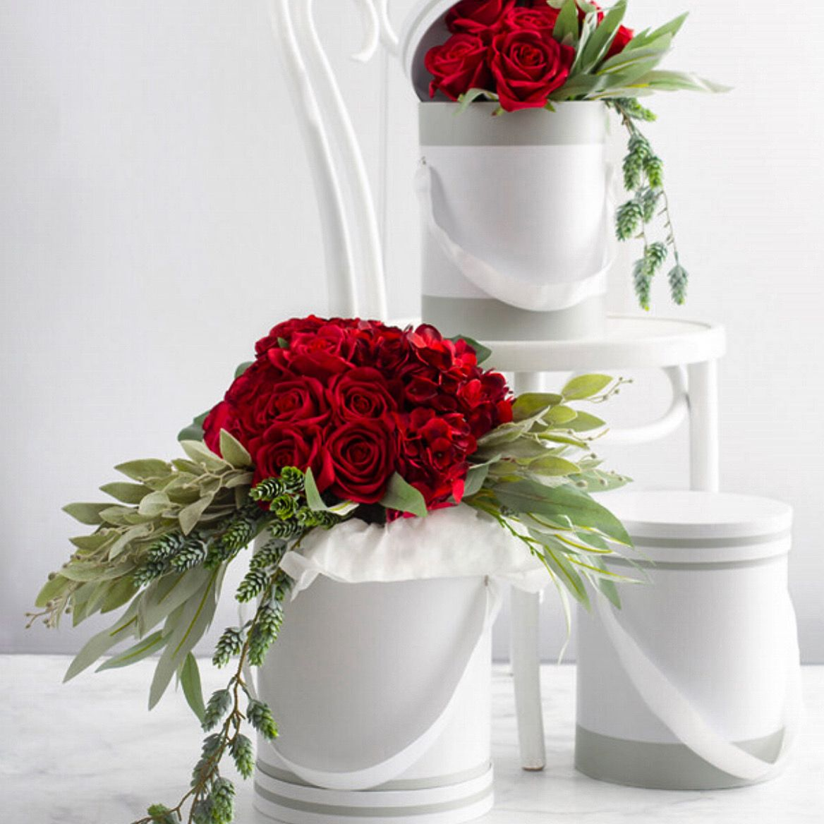 Hat Flower Box Deluxe Cheri Sage Grey Wht (24.5Dx30cmH)Set