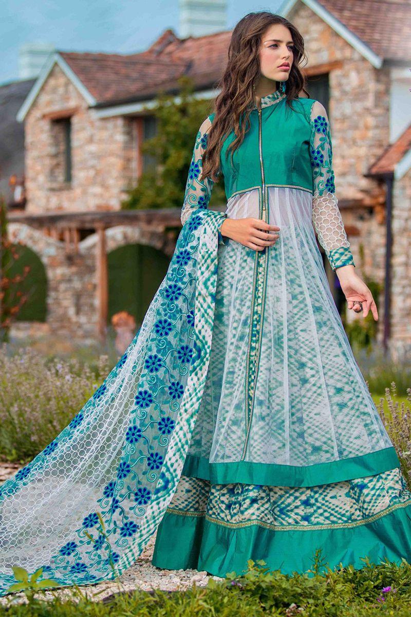 designer wedding wear rama and white anarkali suits | Anarkali Suits ...