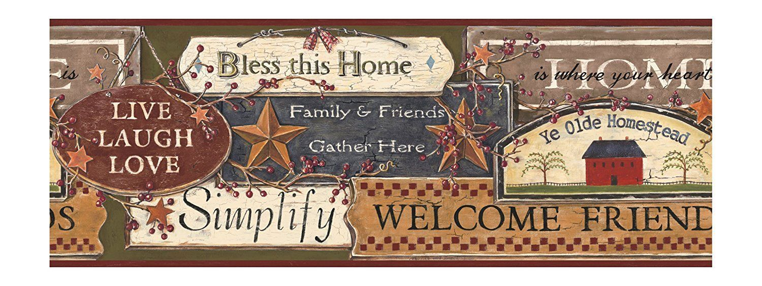 Country Kitchen Signs On Sure Strip Wallpaper Border Pc3976bd Wallpaper Border Country Signs Wall Signs