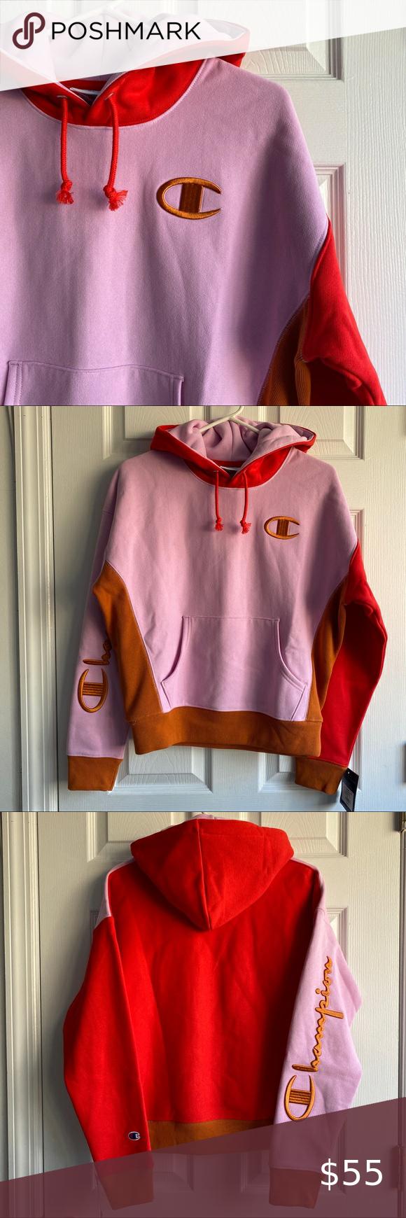 Champion Colorblock Hoodie Hoodies Sweatshirts Hoodie Adidas Tops [ 1740 x 580 Pixel ]