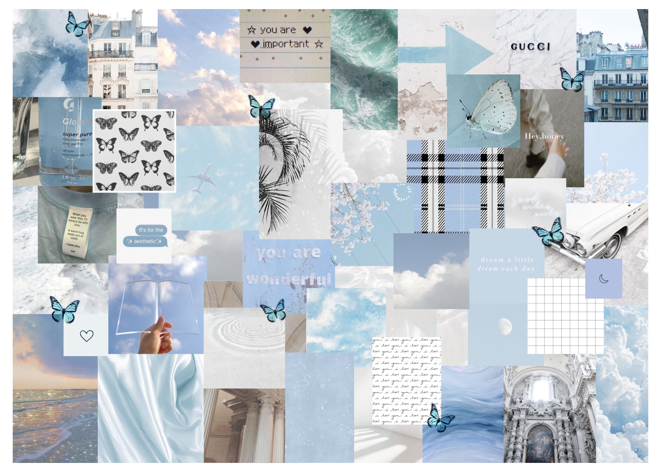 Blue White Aesthetic Laptop Wallpaper Baby Blue Aesthetic Collage Babyblueaesth In 2021 Cute Desktop Wallpaper Aesthetic Desktop Wallpaper Cute Laptop Wallpaper