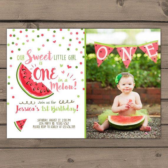 ecdae8ea4 Watermelon Birthday invitation One In A Melon First Birthday | Baby ...