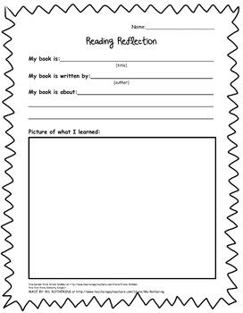 Free Reading Reflection Handout. This worksheet is designed to help young readers reflect on a story they have read. Students must identify the title, author, a short summary, and a visual representation of their fiction or non-fiction reading selection.