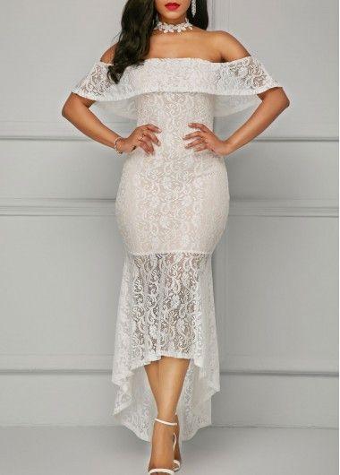5982e6c0b93 White Asymmetric Hem Off the Shoulder Lace Dress on sale only US 39.63 now