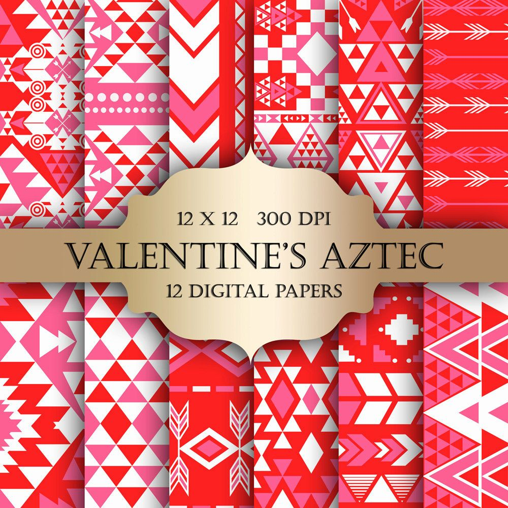 Valentines AZTEC Digital Paper Pack -Ethnic tribal pink red triangle ...