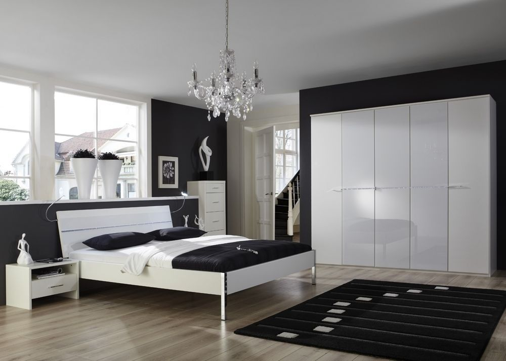 Schlafzimmer komplett Weiß Glas Kristall 5027. Buy now at https ...