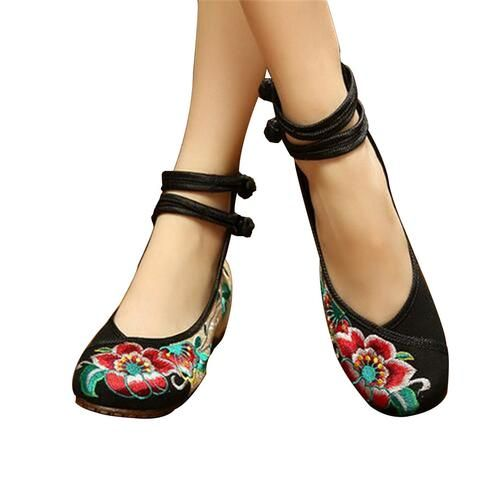 Vintage Chinese Embroidered Flat Ballet Ballerina Cotton Mary Jane Casual  Shoes for Women in Black Floral Design