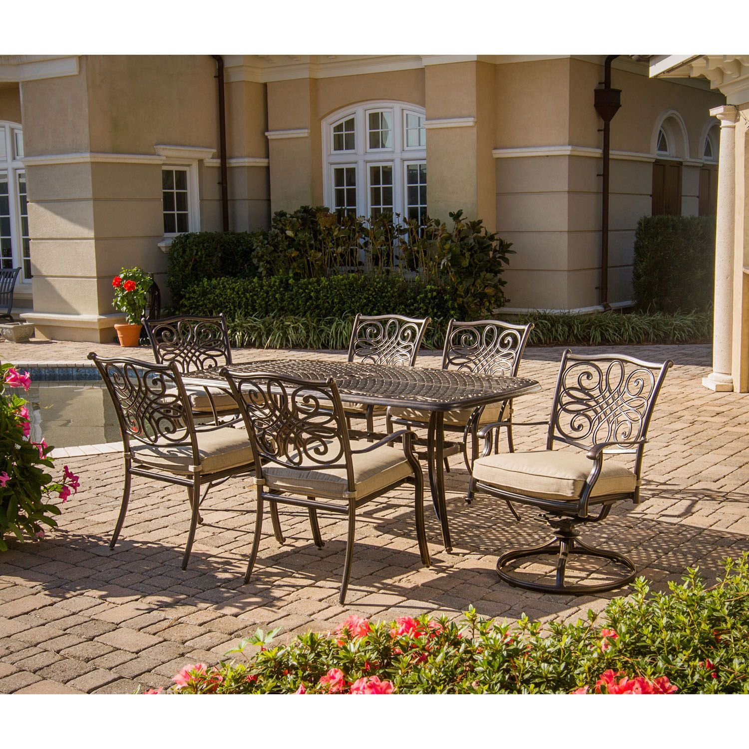 Hanover traditions 5 piece outdoor fire pit lounge set aluminum tan brown size 5 piece sets patio furniture