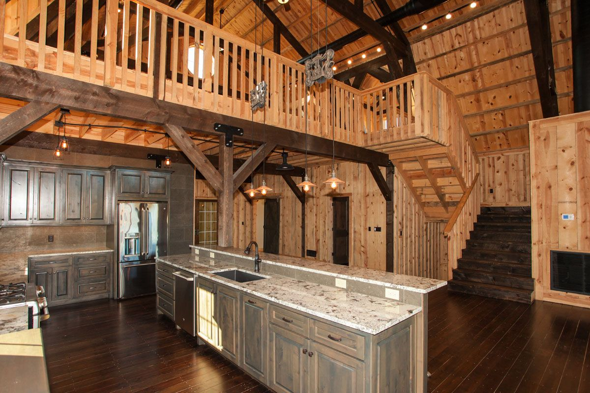 Gorgeous Rustic Kitchen In A Barn Home Sand Creek Post Beam Kitchen Barnhome Rustic Barn Style House Gambrel Barn Barn House