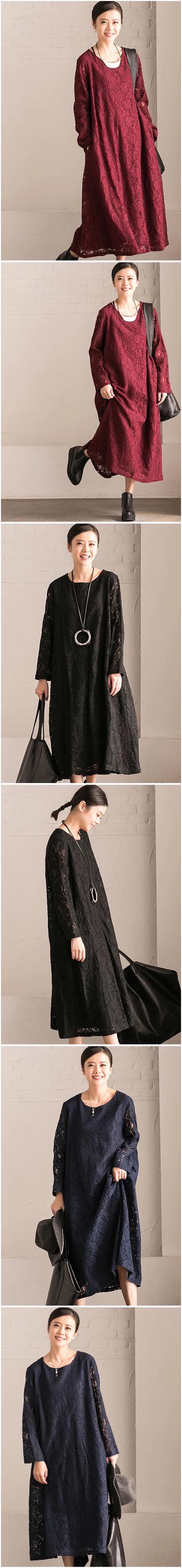 Redblackblue lace long dresses qa clothes u style
