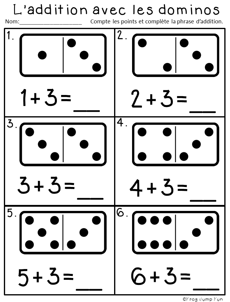 French Domino Addition Pack Kids Math Worksheets Kindergarten Math Worksheets Preschool Math