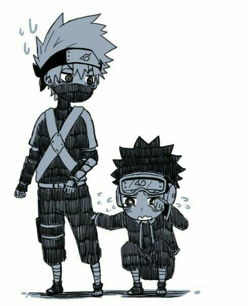 Kakashi Obito Young Childhood Crying Sad Cute Chibi Naruto