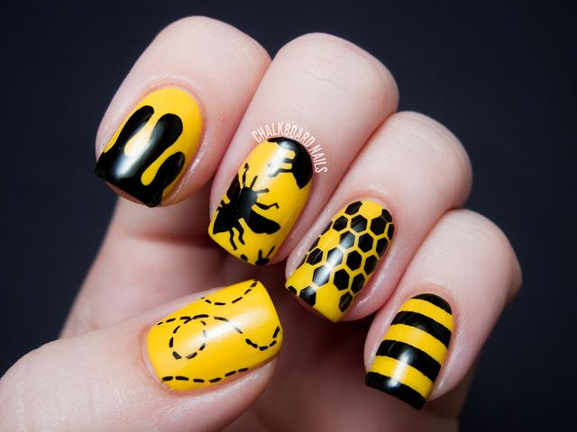 31dc2013 Day 03 Yellow Bee Silhouettes Bee Nails Yellow Nails Black Nail Art