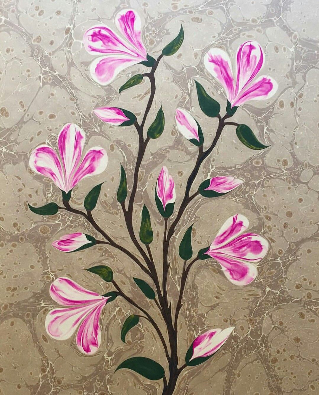 By Firdevs Alkanolu Turkish Ebru Marbled Paper Japanese Magnolia