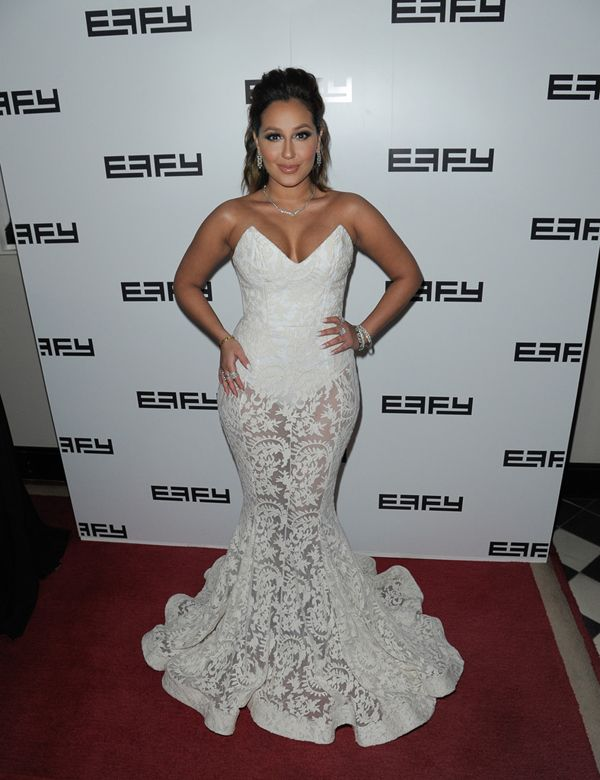 Adrienne Bailon Hosts Effy 35th Anniversary Party White Michael Costello Dress