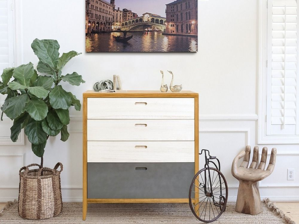 Chest of Drawers Dresser 4 Drawer Wood Brown Grey White