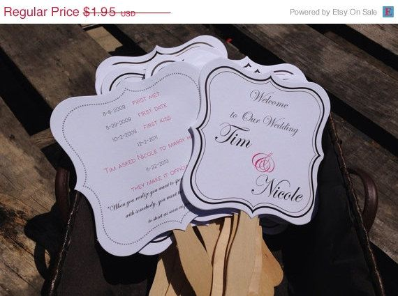 On Today Custom Double Sided Wedding Fan In White Or Ivory