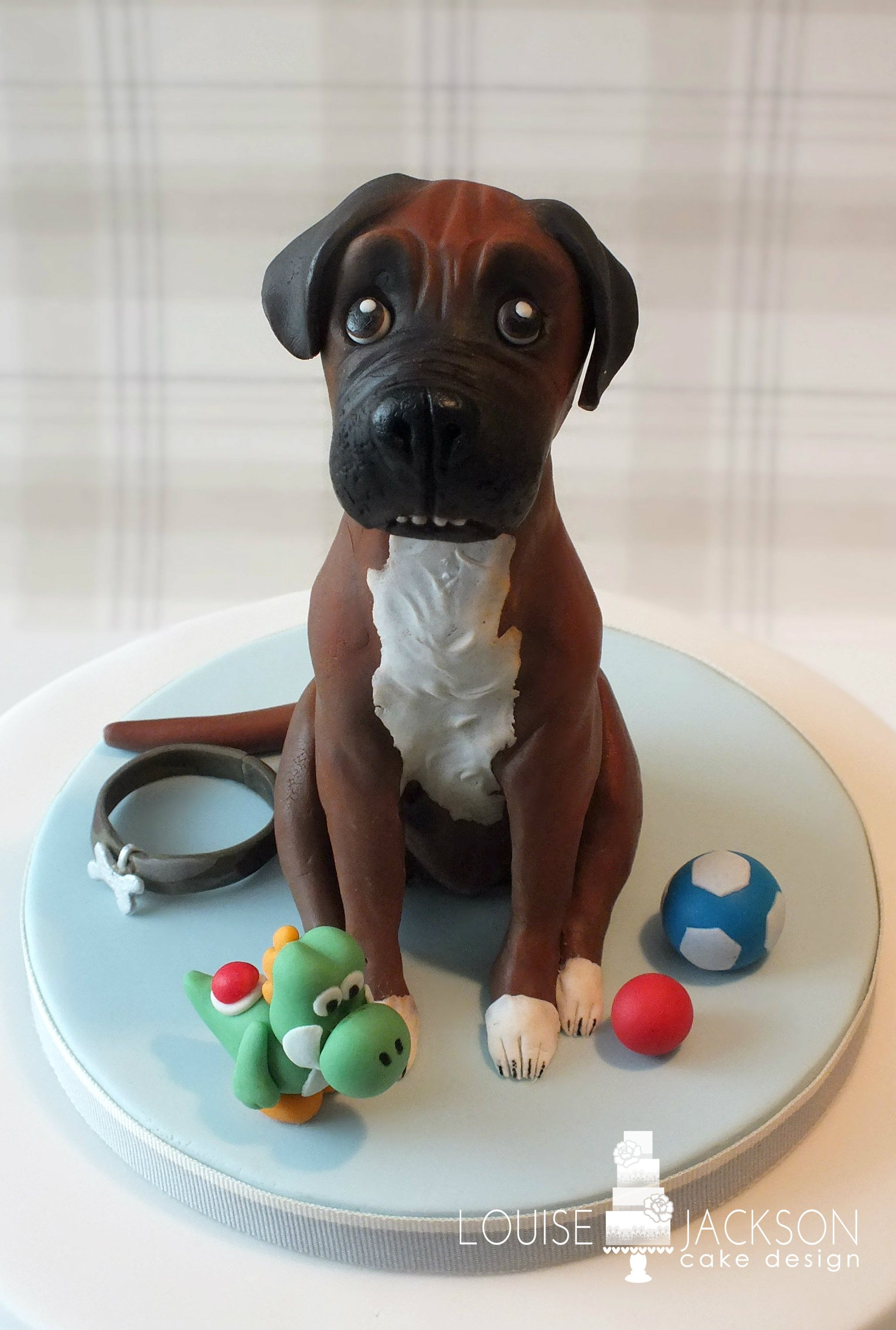 Boxer dog modelled from modelling chocolate | Celebration Cakes ...