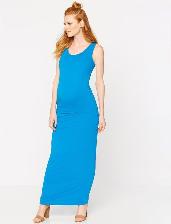 f3d724489ae Stylish Blue Maternity Maxi Dress