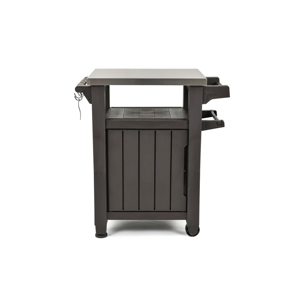 Keter Unity 40 Gal Grill Serving Prep Station Cart With Patio Storage 228833 The Home Depot In 2020 Patio Storage Grill Table Grill Cart