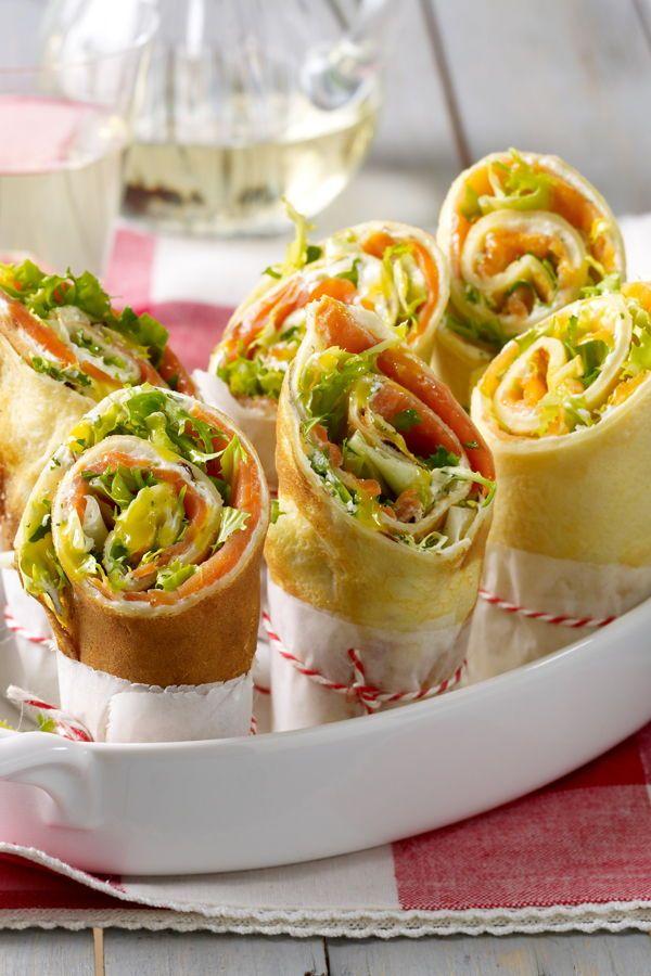 Pfannkuchen-Wraps mit Frischkäse-Lachs-Füllung Rezept | LECKER