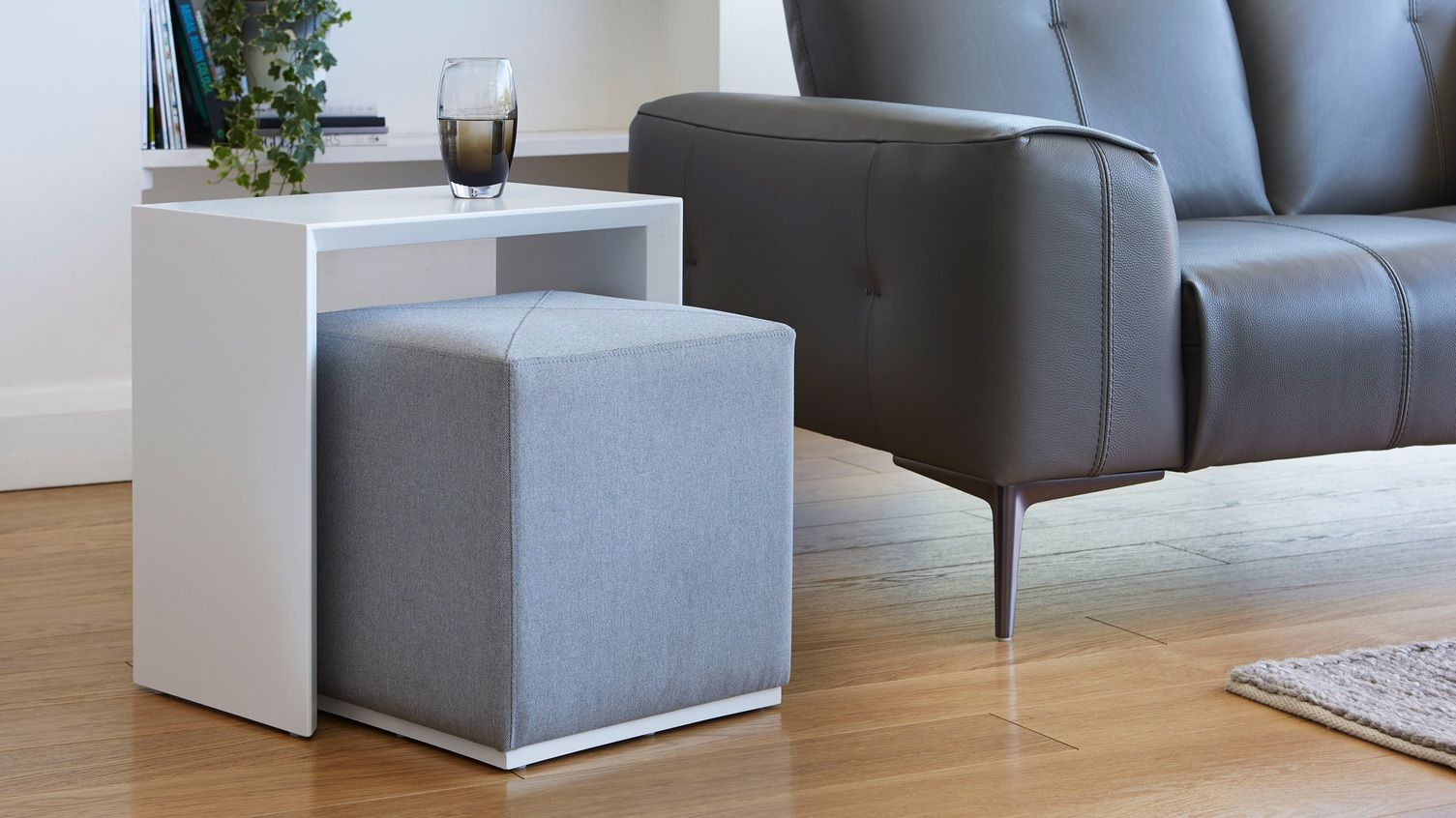 Duo White Gloss Side Table And Silver Grey Fabric Stool Set Living Room Side Table White Side Table Living Room Living Table