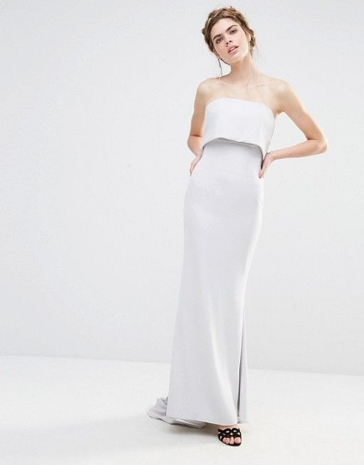 Jarlo Wedding Overlay Maxi Dress with Fishtail and Oversized Bow ...