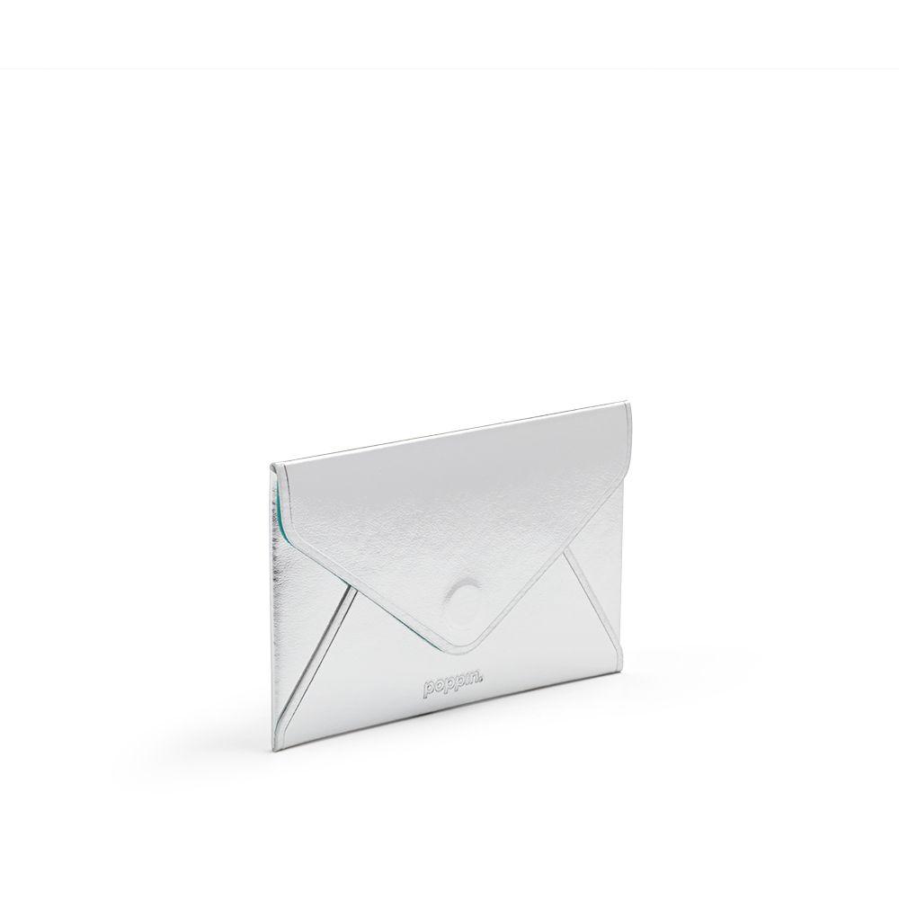 Poppin Metallic Silver Business Card Case | Desk Accessories | Cool ...