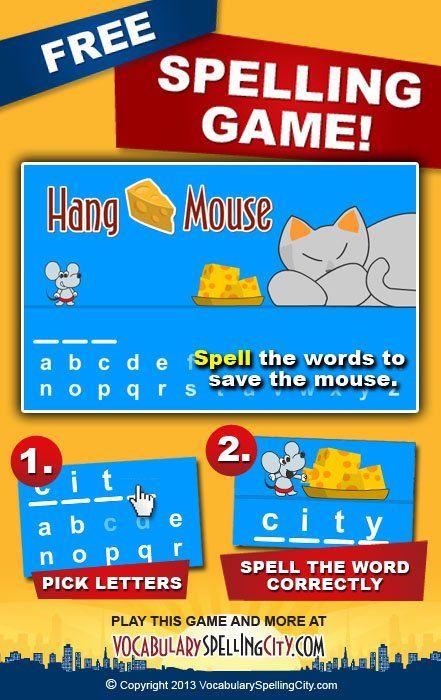 Hangman Game Online Hangmouse Games Spelling Words Spelling City Words