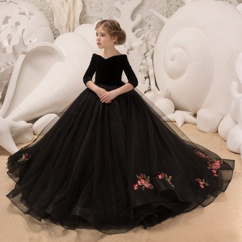 Reliable Flower Girl Dresses Princess Prints A Christmas Holiday Performance Dress Girl Christmas Party Banquet Dress Superior Materials Wedding Party Dress