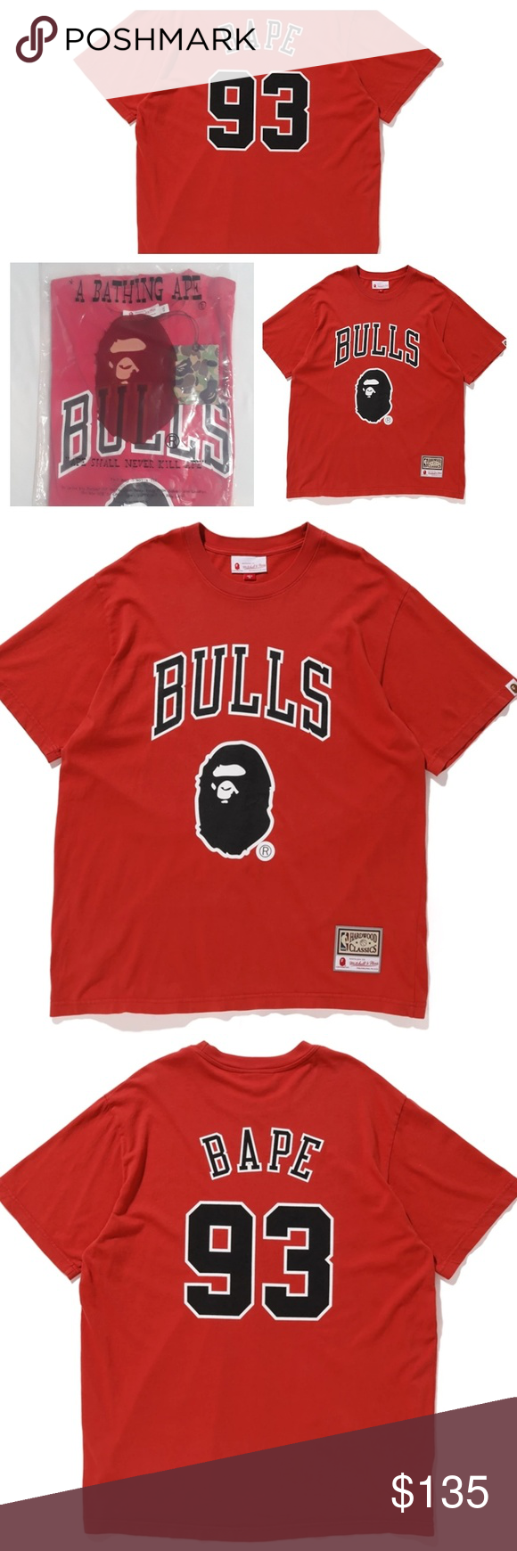 4911a06fb Bape x Mitchell   Ness Chicago Bulls Red T-shirt New With Tags ...