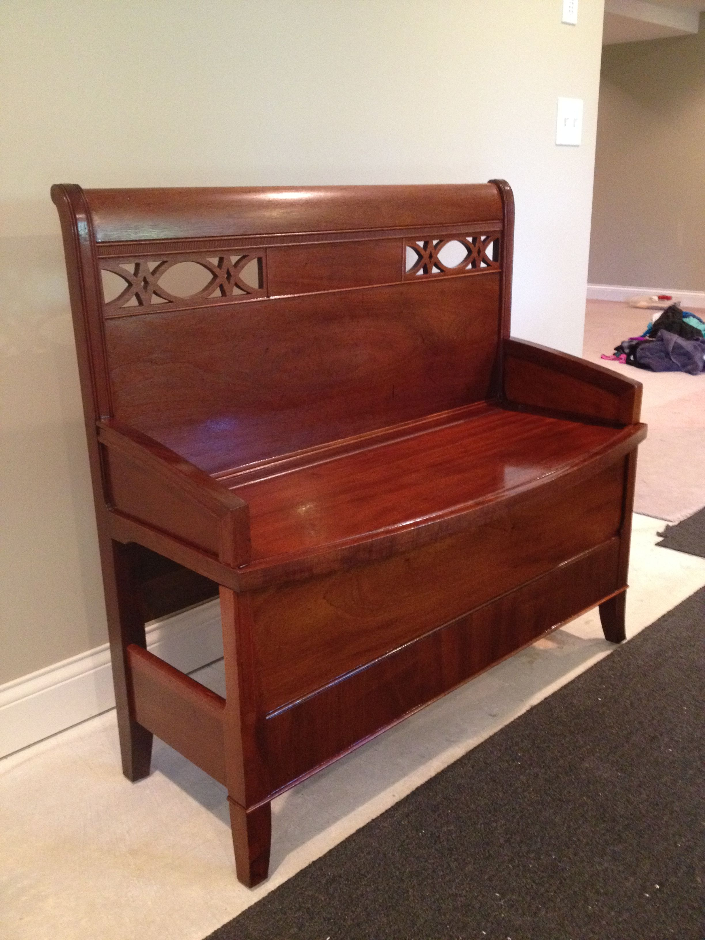Bench made from twin bed frames, used headboard and