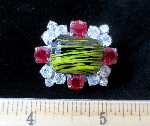 Macnificent Vintage Czech Rhinestone Glass Button Red Crystal WC Cabochon | eBay