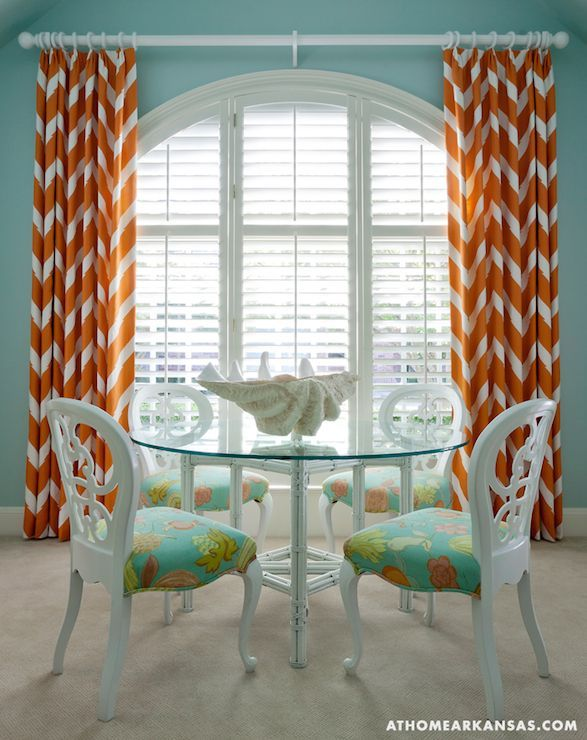 Tobi Fairley Turquoise blue and orange dining room features