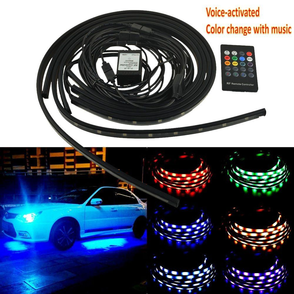 Led Strip Lights For Cars 4Pcs 12V Car Rgb Led Drl Strip Light Car Auto Remote Control  Us