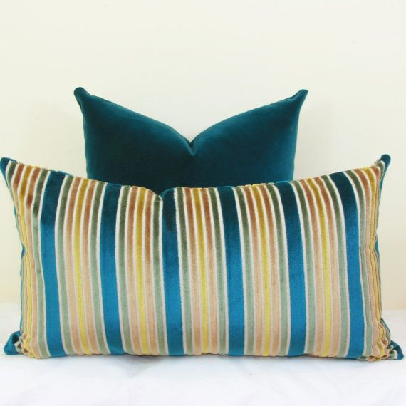 16X26 Pillow Insert Peacock Gold Velvet Stripe Pillow Cover 18X18 20X20 22X22 24X24