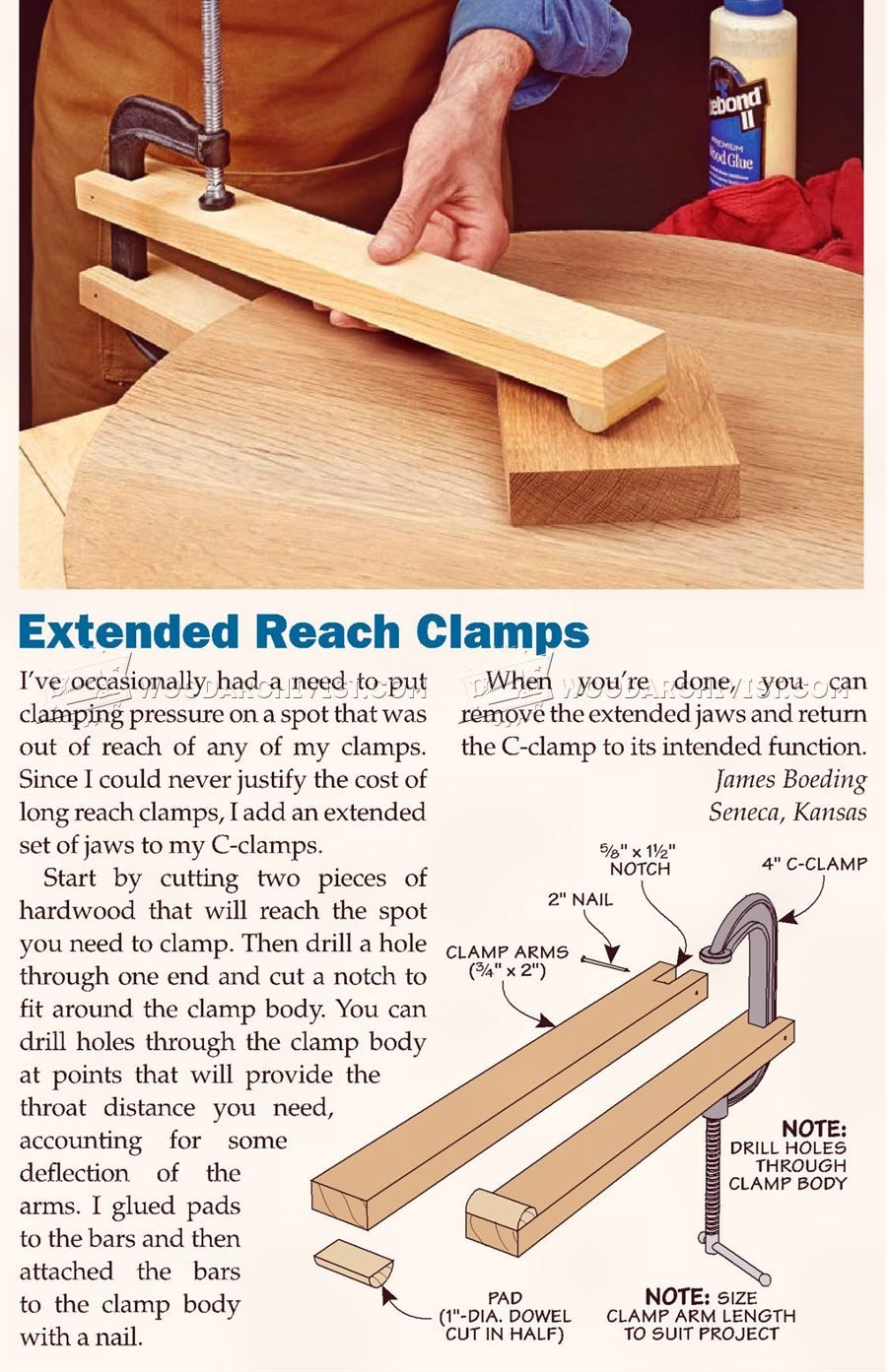 DIY Long Reach Clamp Clamp and Clamping Tips, Jigs and