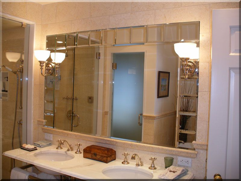 beveled mirror tiles | Mirror with small beveled mirror block frame ...