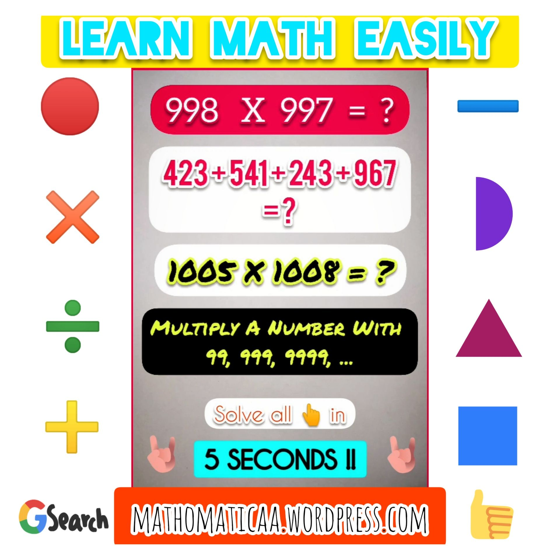 Learn Math Easily Solve In Seconds Learning Math Math Math Tricks Easy learn addition math tricks