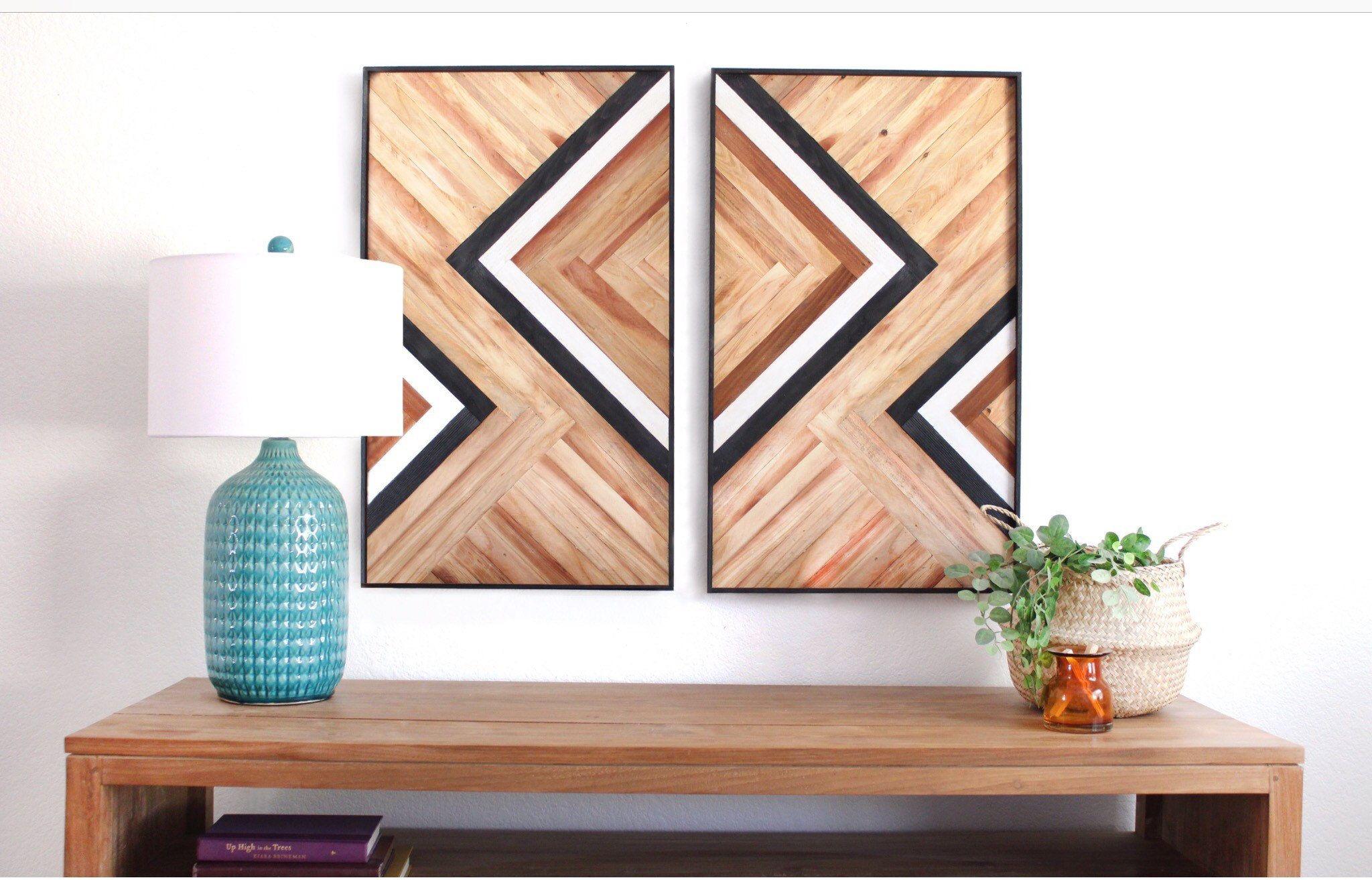 Black And White Line Art Buffet Art Wood Art Geometric Wall Etsy In 2020 Geometric Wall Art Living Room Art Framed Wall Art