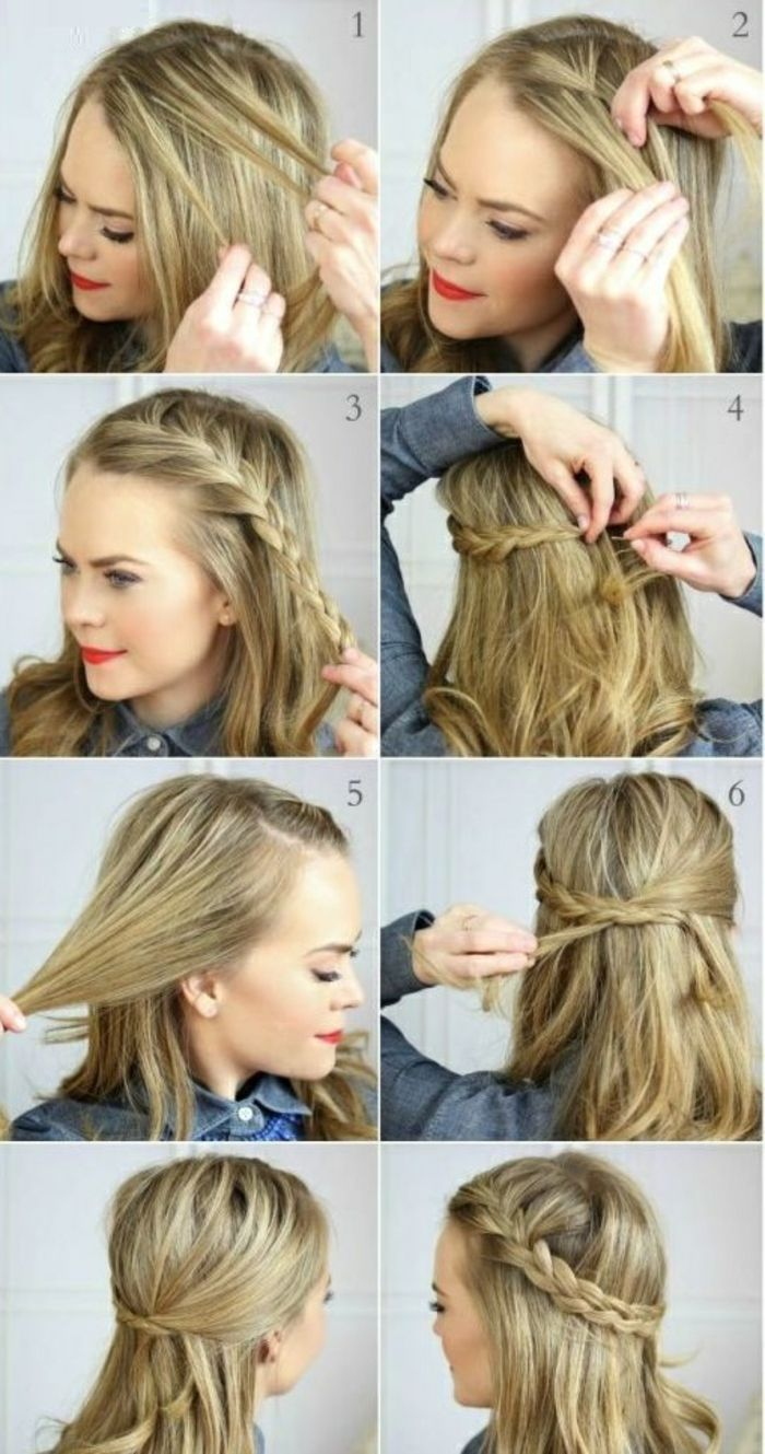 comment faire une coiffure facile cheveux mi longs happy hair pinterest hair style. Black Bedroom Furniture Sets. Home Design Ideas