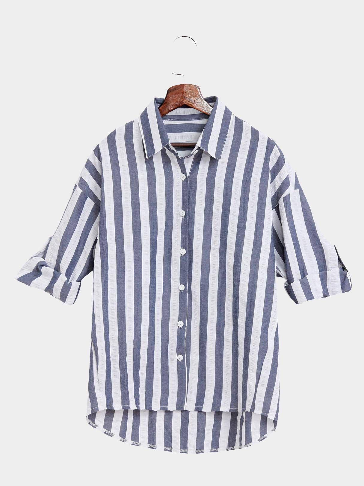 c8662f2ce8 Casual Dark Blue And White Stripe Pattern Shirt | Room for more ...