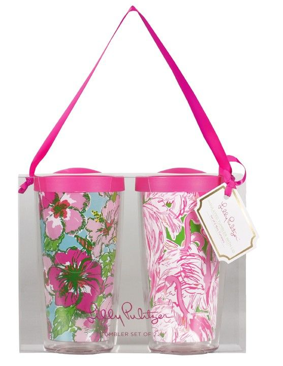 Big Flirt and Pink Colony Insulated Tumbler Set - Spring 2015 Collection - Lilly Pulitzer - NEW!