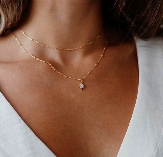 Necklace  Opal and Gold Necklace  Dainty Star Necklace Northstar Opal Necklace  Opal and Gold Necklace  Dainty Star Necklace The sweetest little teardrop lab opal encased...